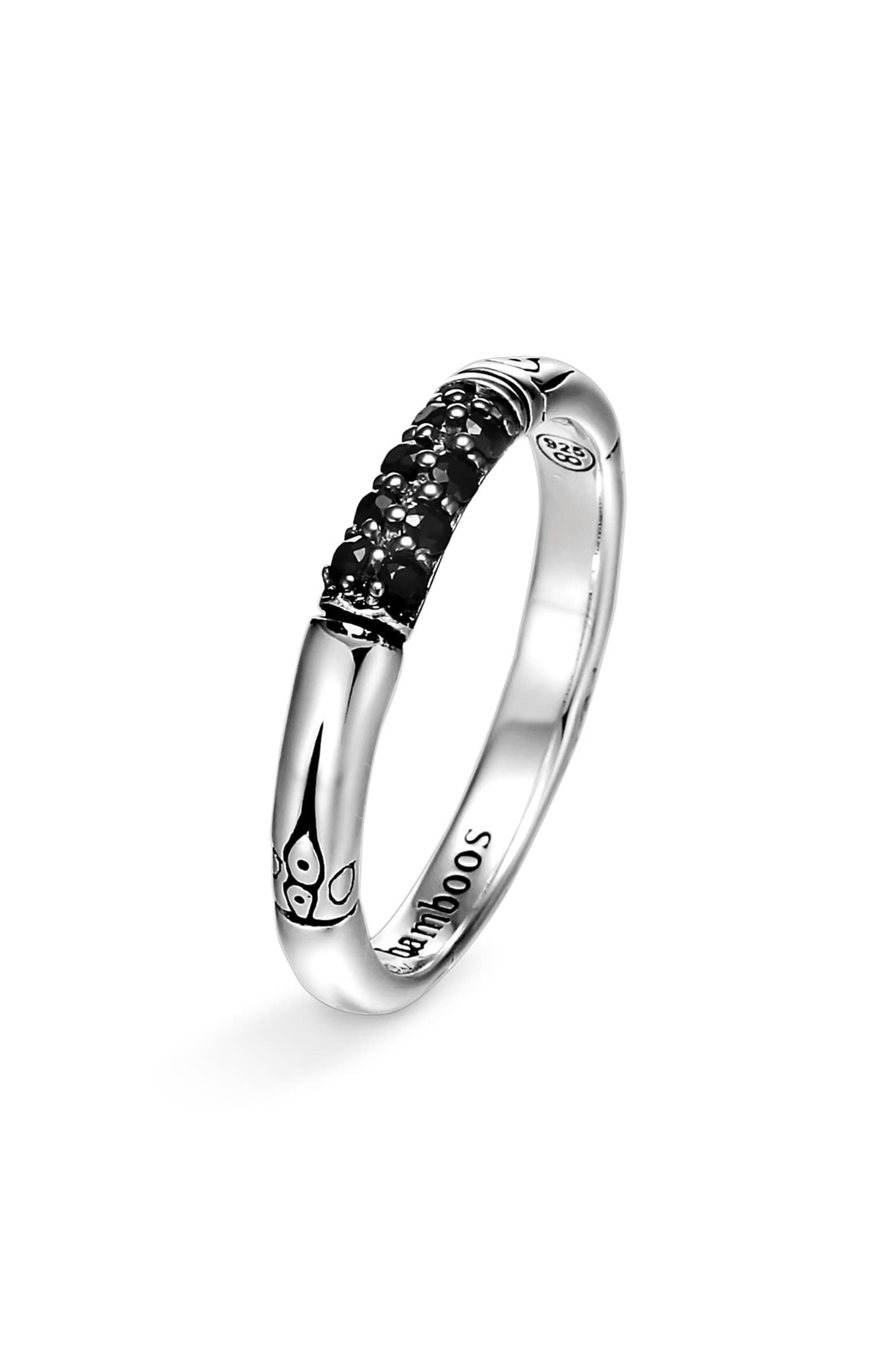 Bamboo Lava Slim Band with Black Sapphires