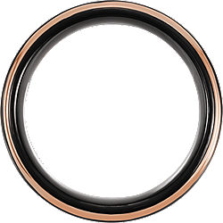 Tungsten 8mm Flat Grooved Band with Black PVD and Rose Gold Plating