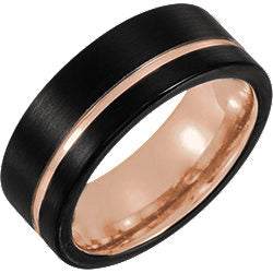 Tungsten 8mm Grooved Band with Black PVD & Rose Gold Plating