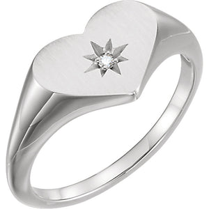 Heart Starburst Diamond Ring