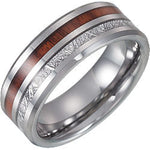 Tungsten Band with Meteorite & Wood Inlay
