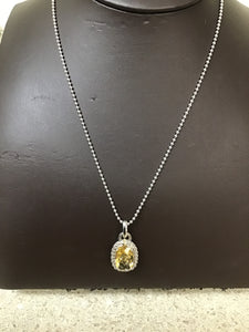 Silver chain with 14 x 10 mm honey quartz pendant