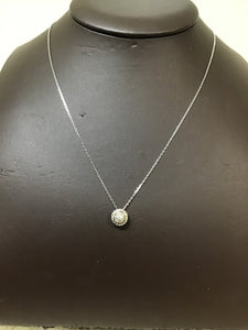 Silver/18KY diamond cluster round pendant with chain