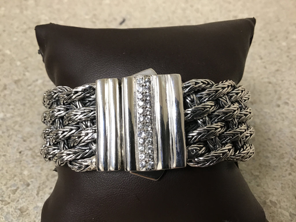 Silver 25mm woven bracelet with white sapphire clasp