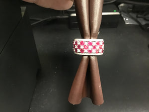 Checkerboard design ruby and diamond band