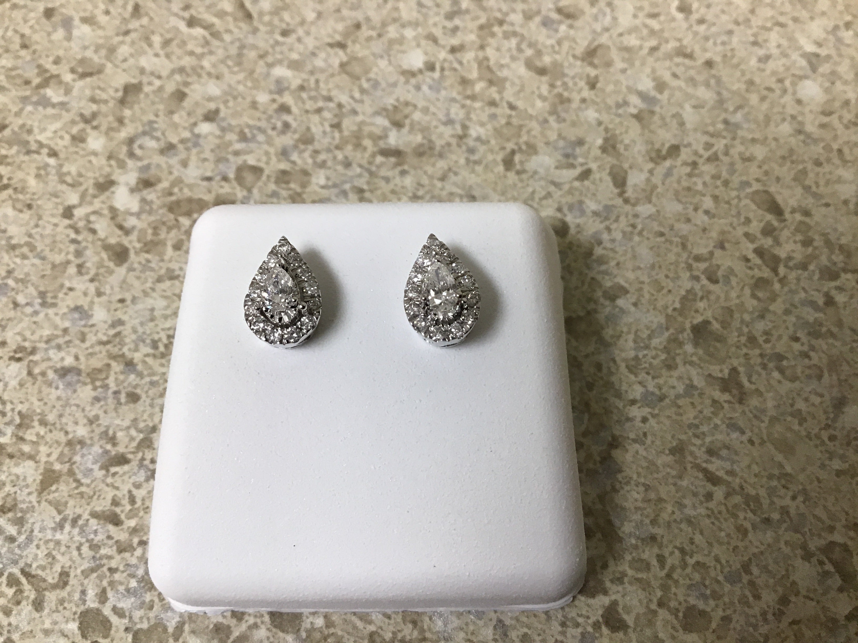Pear shape diamond cluster stud earrings
