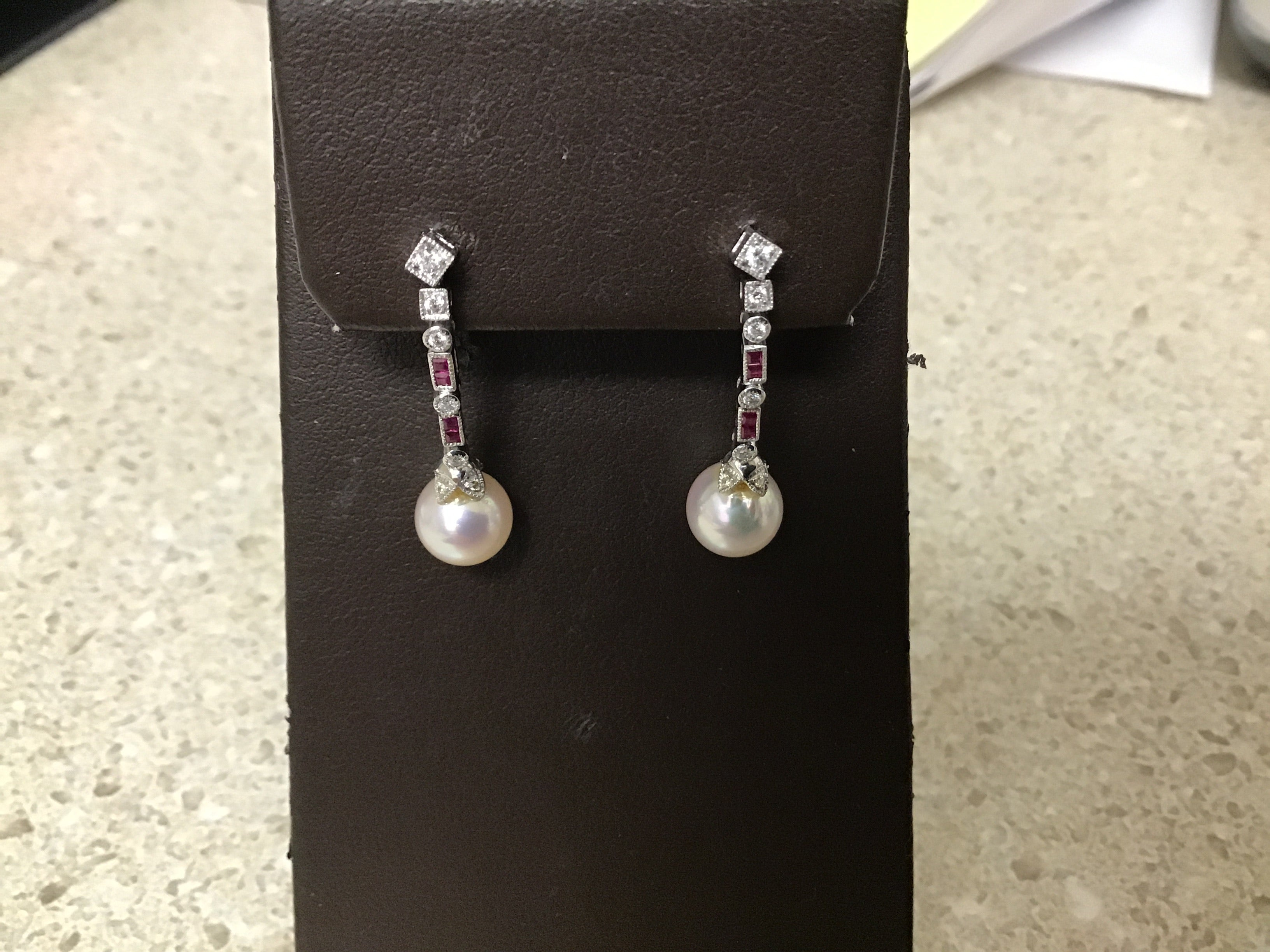 Pearl, Ruby, Diamond Dangle Earrings