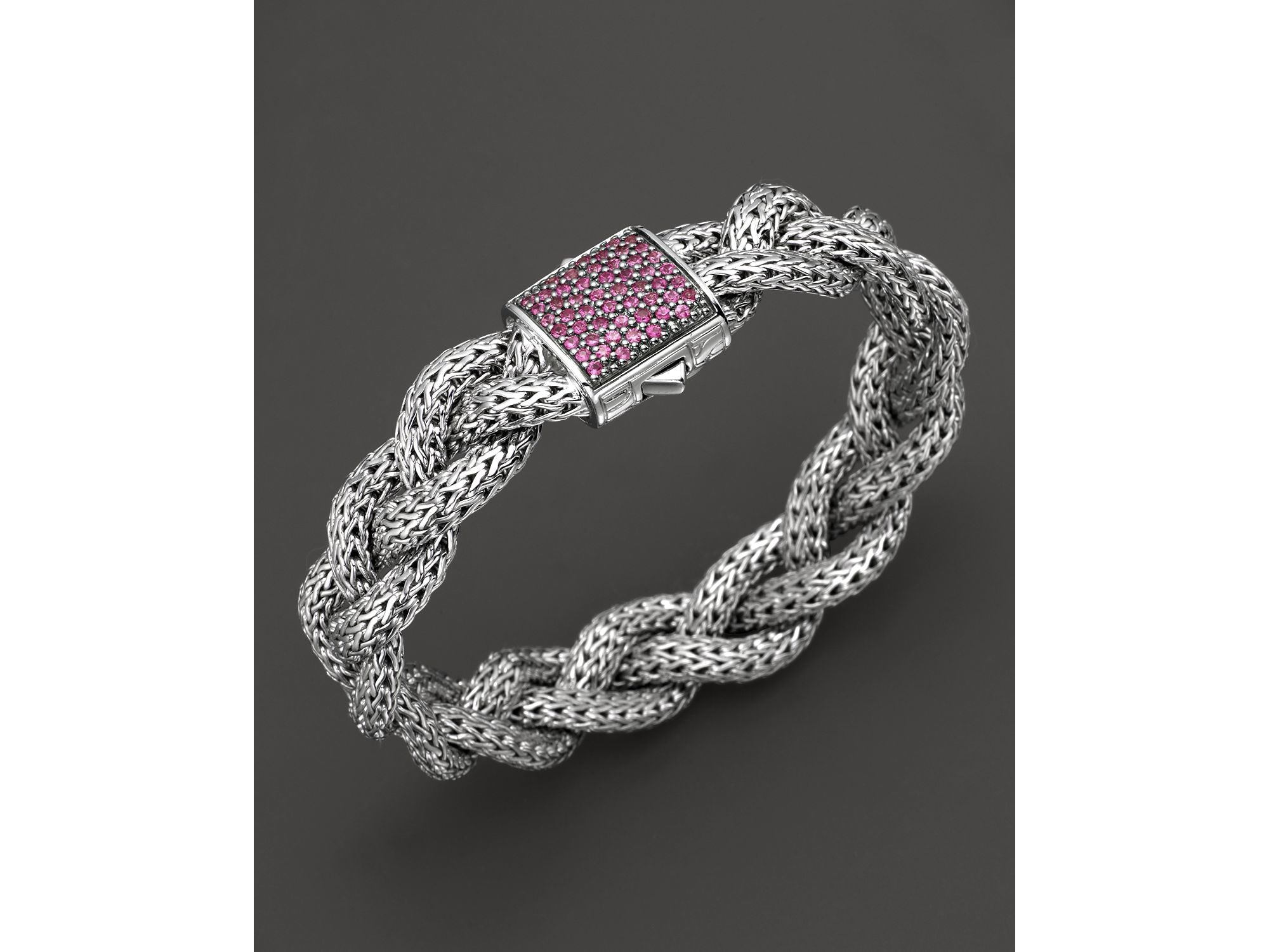Classic Chain Braided Bracelet with Pink Sapphires