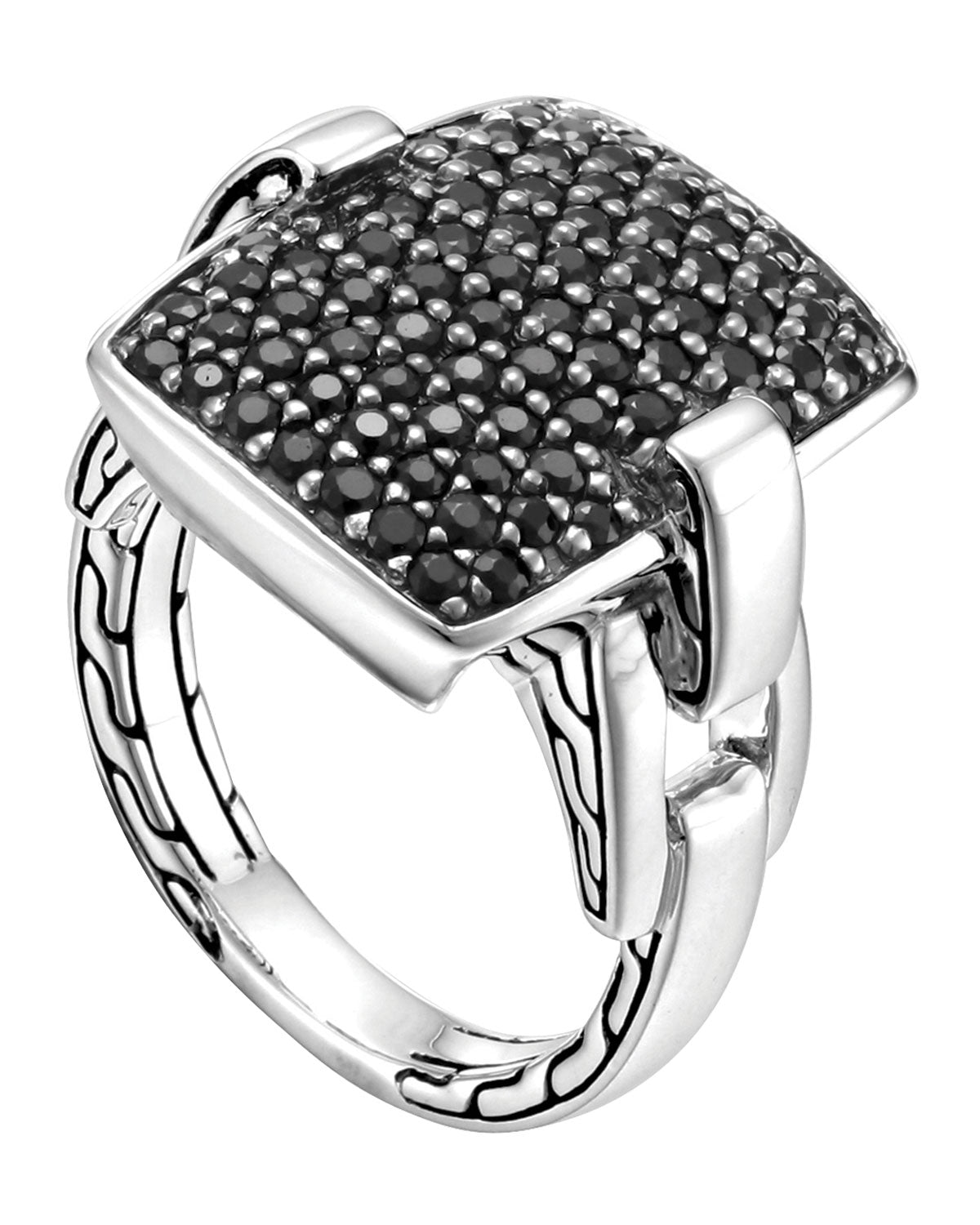 Classic Chain Square Ring with Black Sapphires