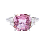 No Heat Pink Sapphire and Diamond Ring