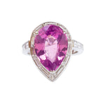 Pear Shape Ceylon Pink Sapphire and Diamond Ring