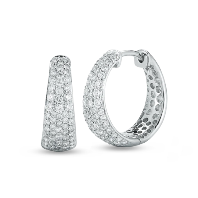 Tapered Hoop Diamond Earrings
