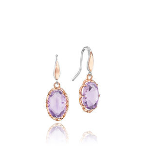 Rose Gold and Sterling Silver Color Medley Rose Amethyst Earrings