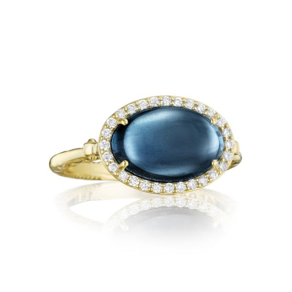 Petite Pavé Oval Cabochon Ring featuring Sky Blue Topaz over Hematite