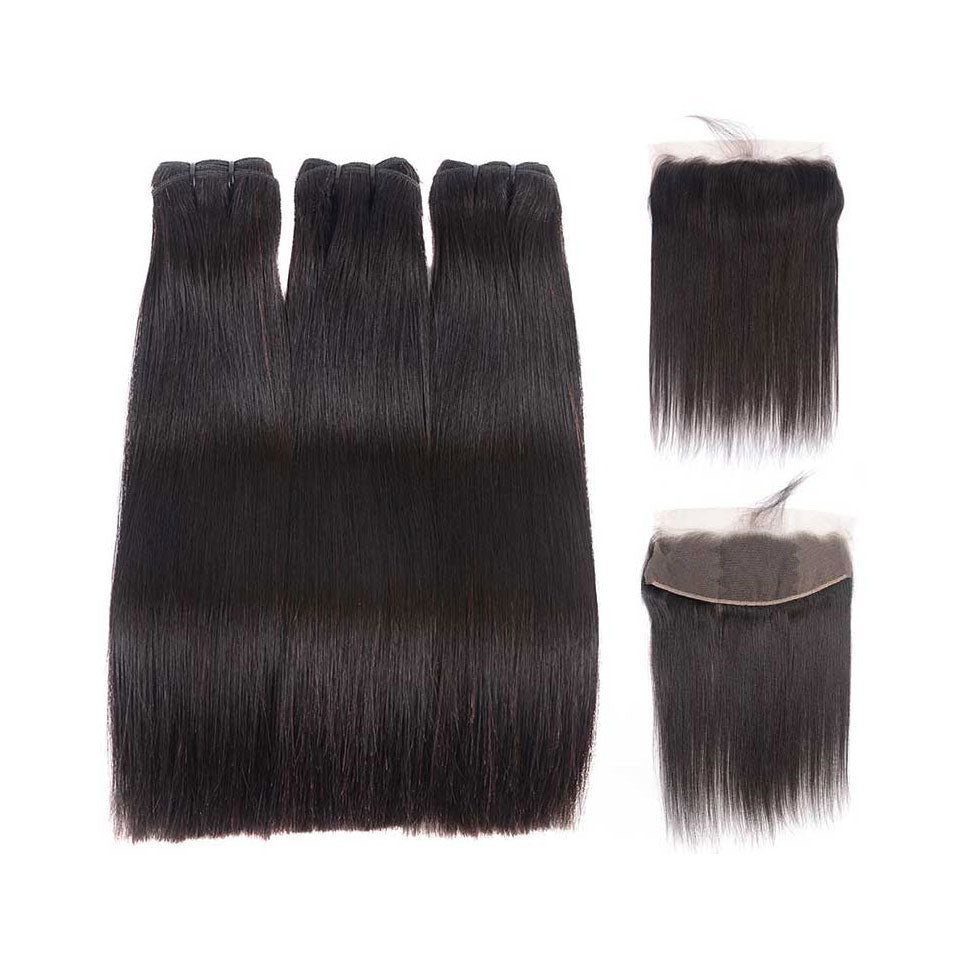15A Mink Hair Double Drawn Raw Virgin Human Hair Weaves Straight Hair 3 Bundles with  Frontal Closure