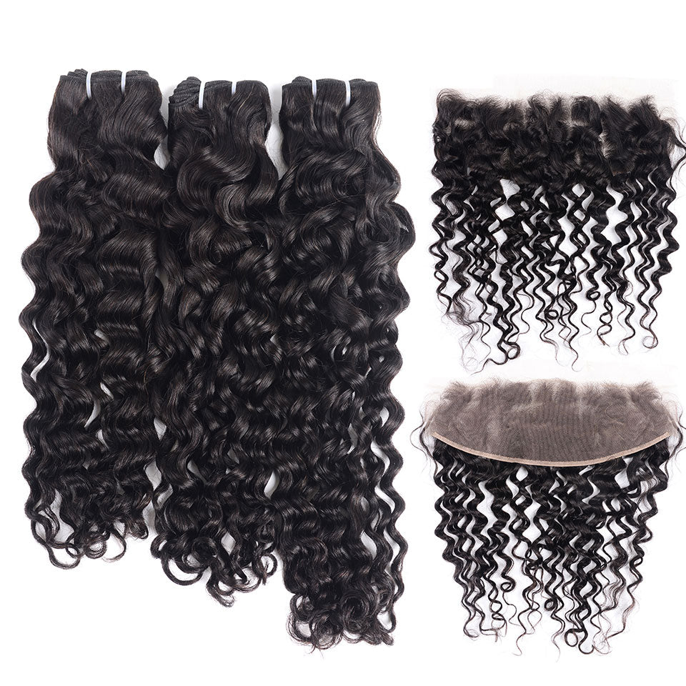 15A Mink Hair Double Drawn Raw Virgin Human Hair Weaves Water Wave 3 Bundles with  Frontal Closure