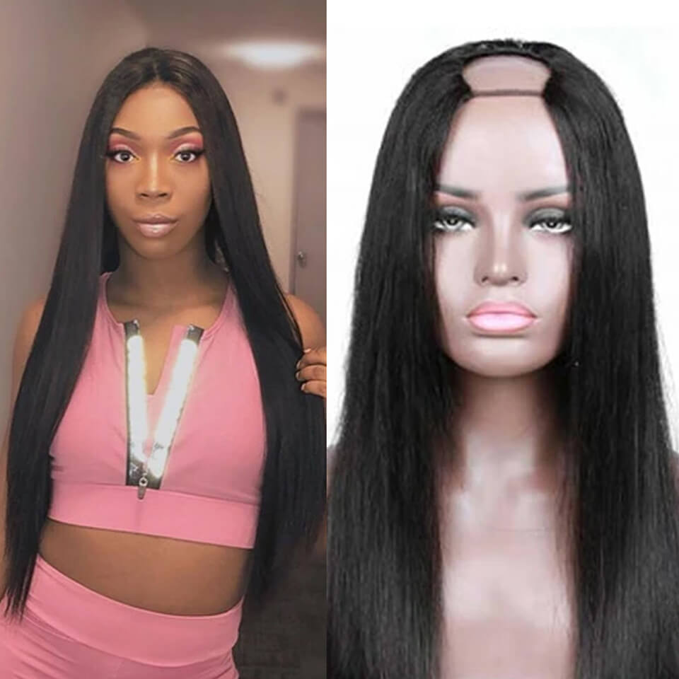 Arabella 2x4 U Part Straight Wig Natural Hair Human Hair Upart Wigs For Women 150% Density