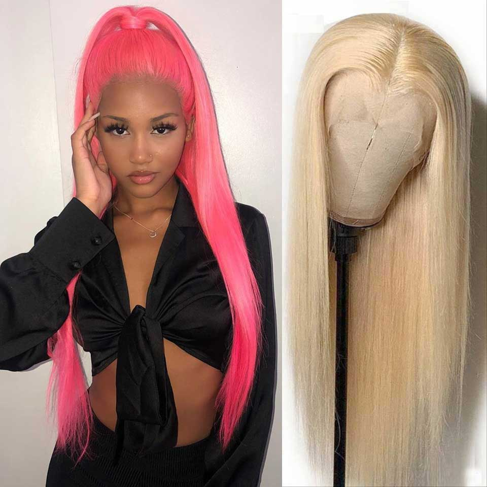 Arabella Human Hair Wigs #613 blonde Straight 13x4 Inch Lace Frontal Wig 150% Density Can Dye to Pink Blue purple silver ginger