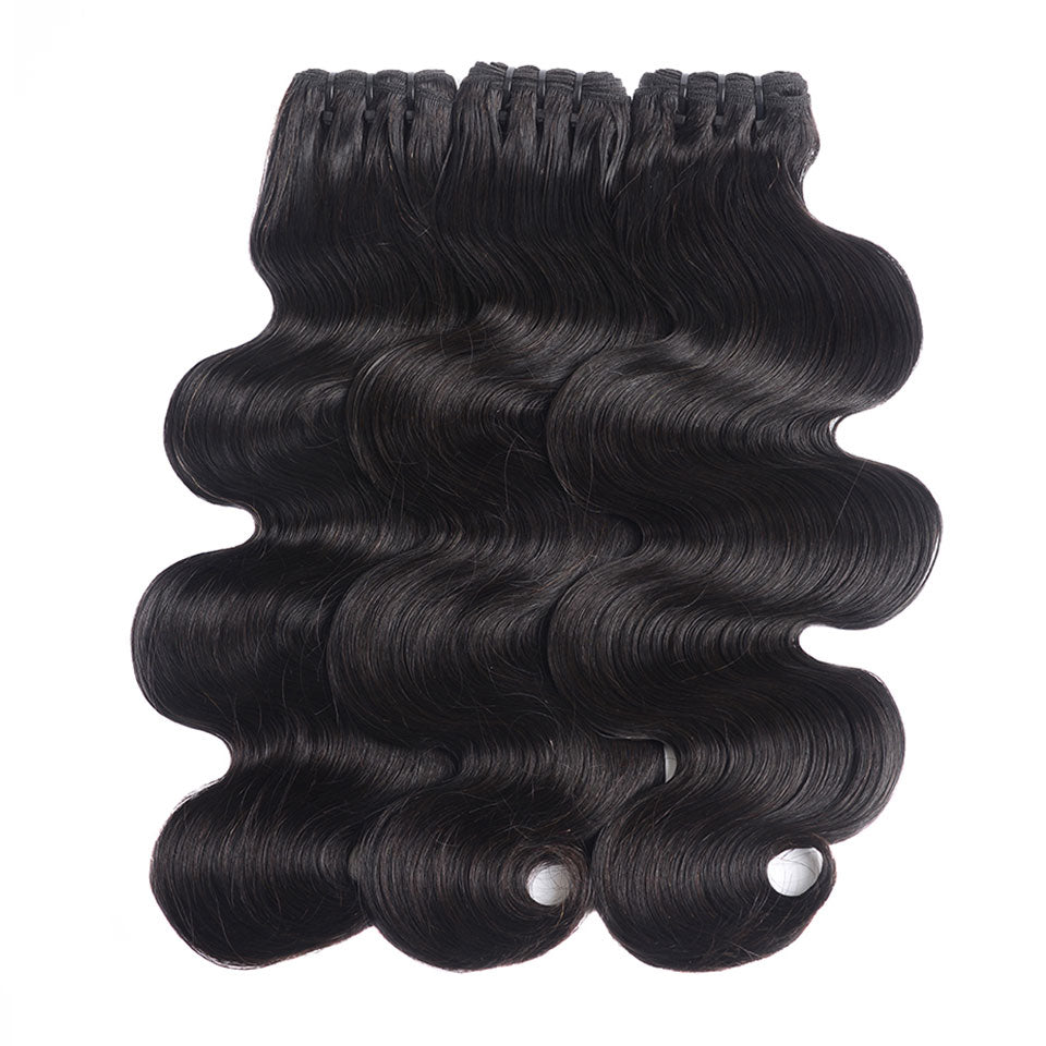 15A Mink Hair Double Drawn Raw Virgin Human Hair Weaves Body Wave 3 Bundles with  Frontal Closure