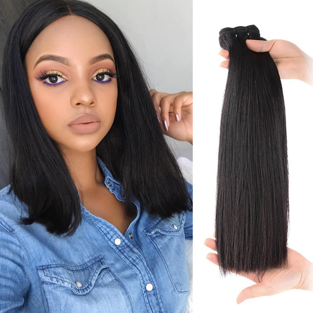 15A Grade Double Drawn Full End  Unprocessed Straight Hair Natural Black 3 bundles/pack