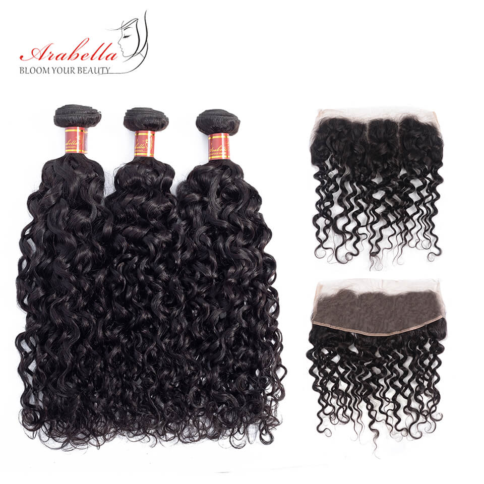 Brazilian Water Wave 3 Bundles Hair Weft With Frontal Closure