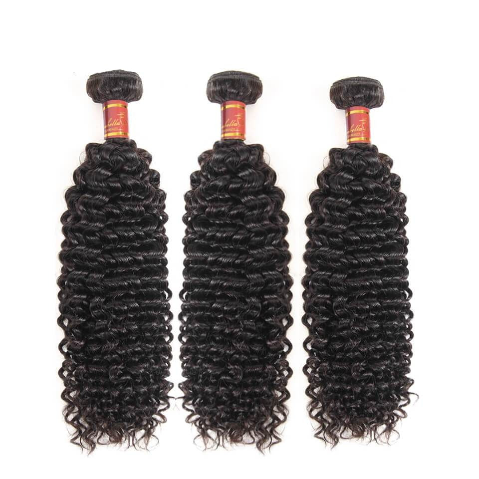 Indian Kinky Curly 3 Bundles Human Hair Weft Natural Color