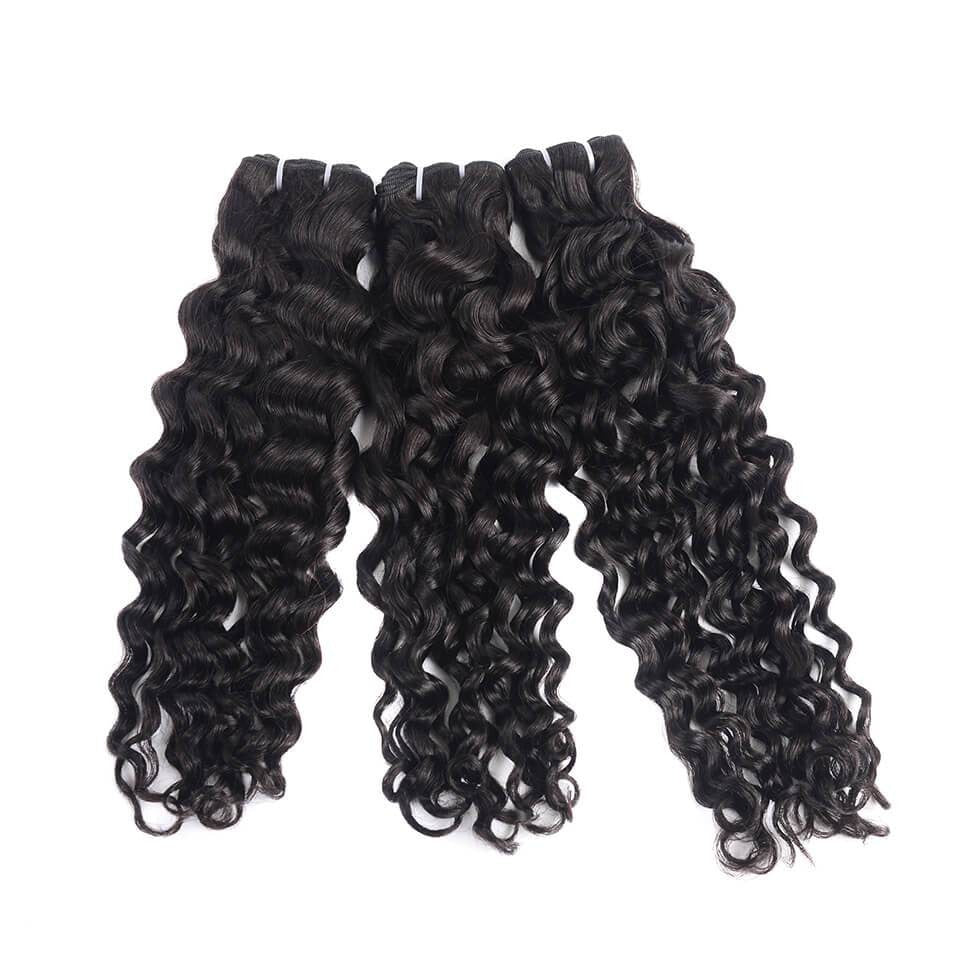 15A Grade Double Drawn Full End  Unprocessed Water Wave Hair Natural Black 3 bundles/pack