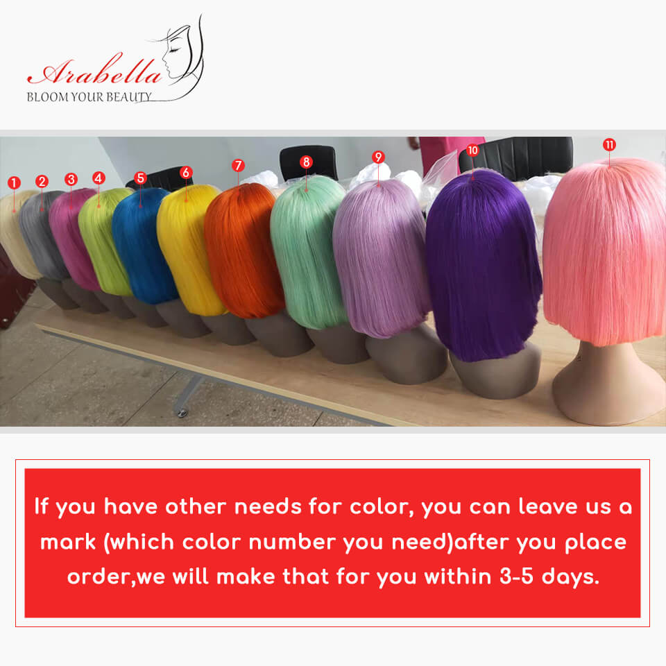 13x4  Colorful Bob Wigs  Lace Front Human Hair  Brazilian Straight Pre Plucked With Baby Hair 150% Density - arabellahair.com