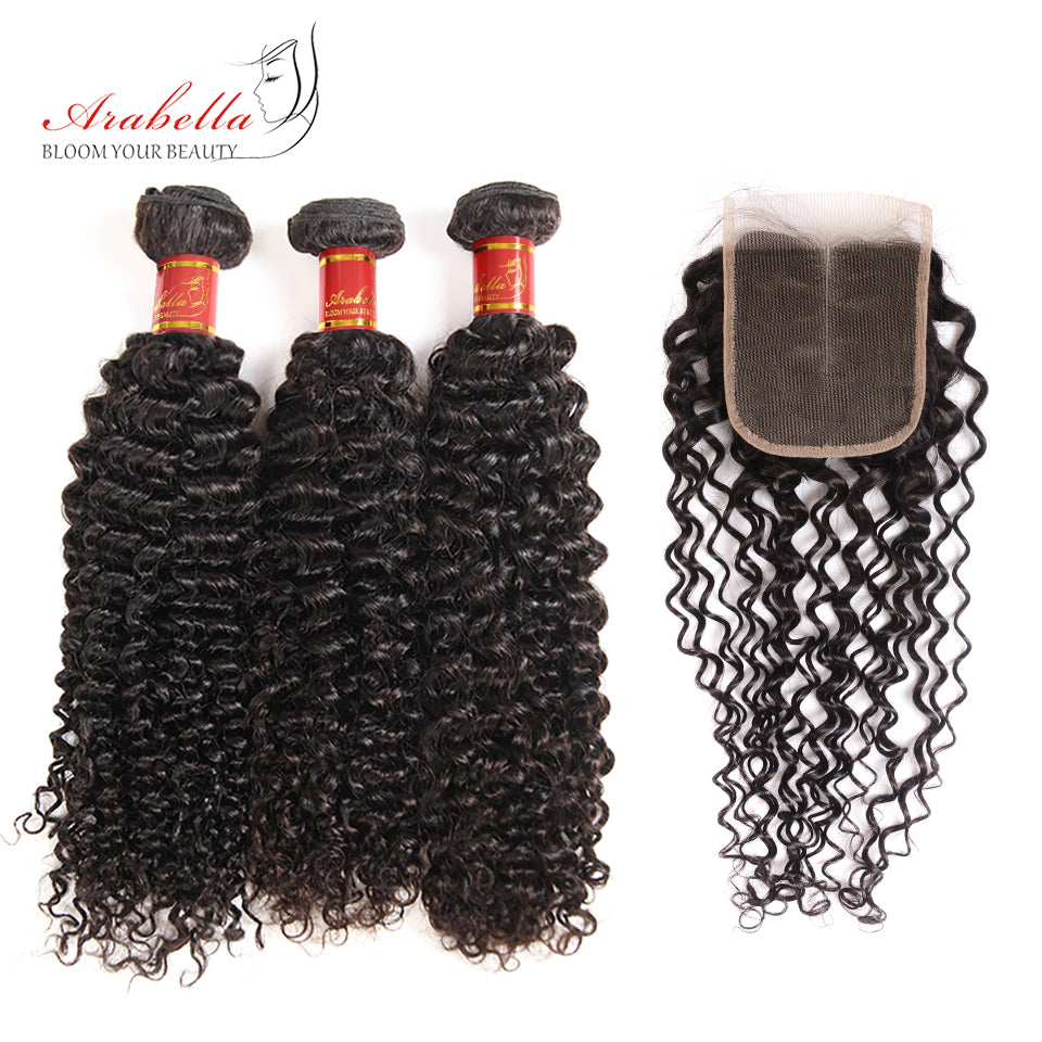Brazilian Jerry Curly 3 Bundles Hair Weft With 4*4 Lace Closure