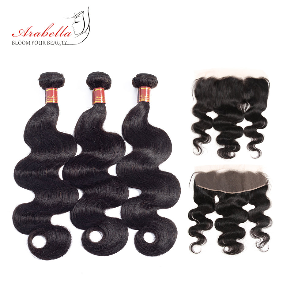 Brazilian Body Wave 3 Bundles Hair Weft With Frontal Closure