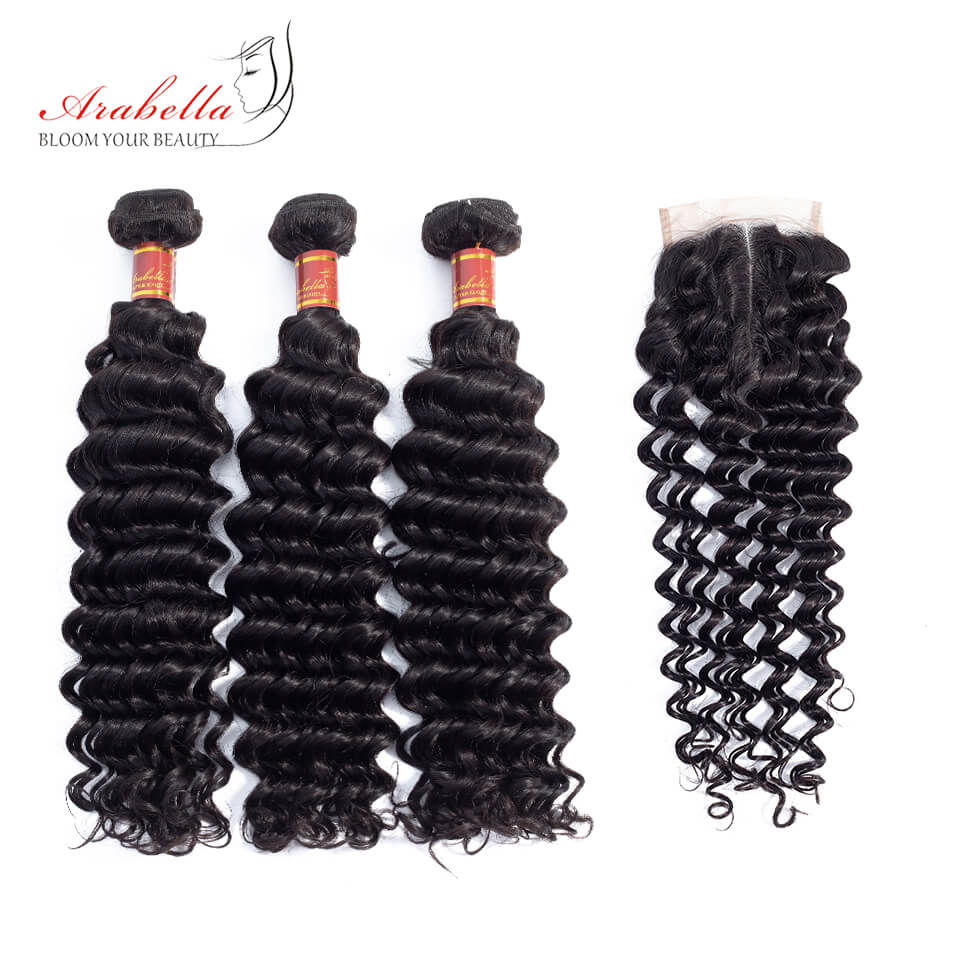 Brazilian Deep Wave 3 Bundles Hair With 4*4 Lace Closure