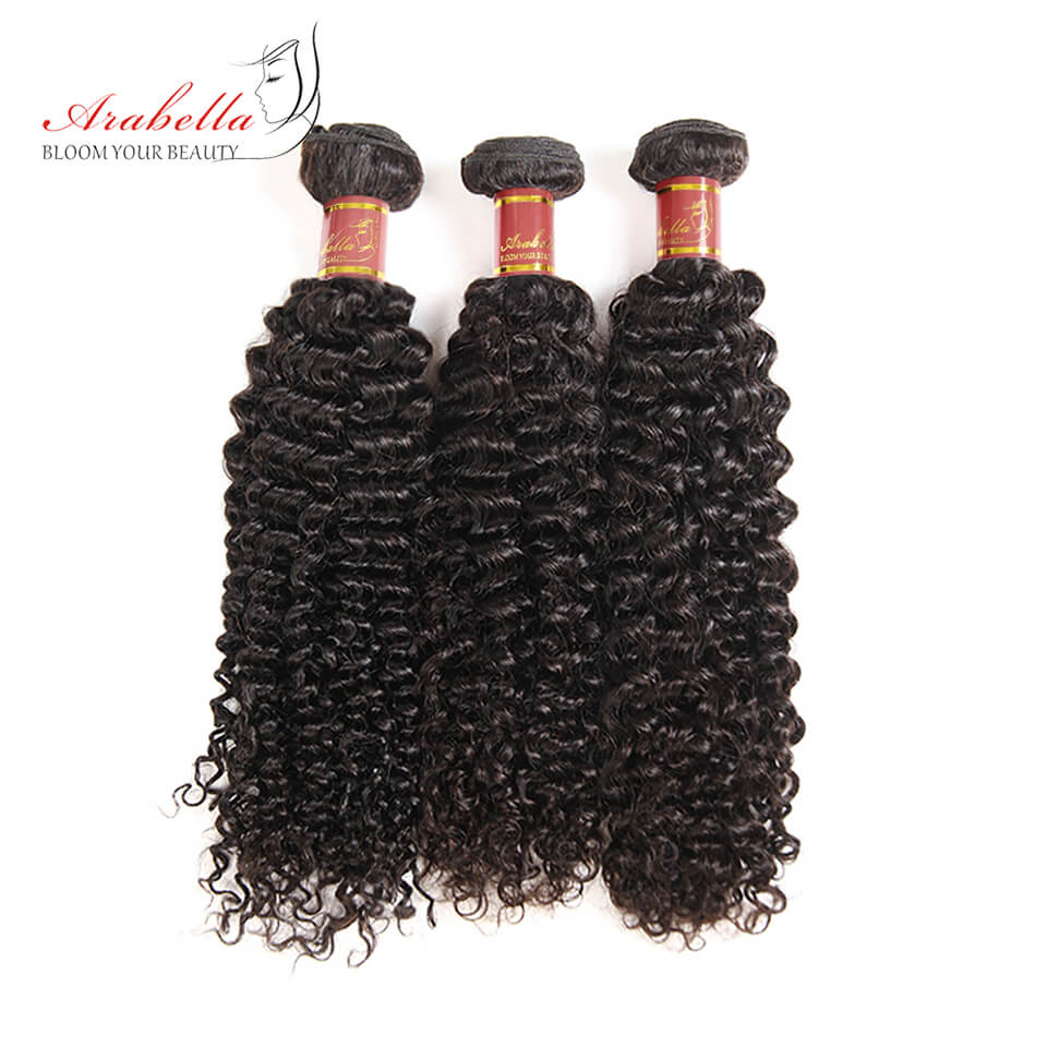 Brazilian Jerry Curly 3 Bundles Human Hair Weft Natural Color