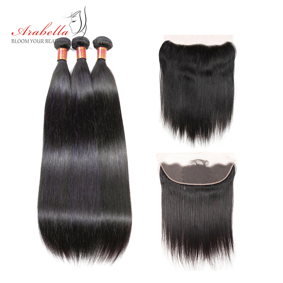 Brazilian Straight 3 Bundles Hair Weft With Frontal Closure