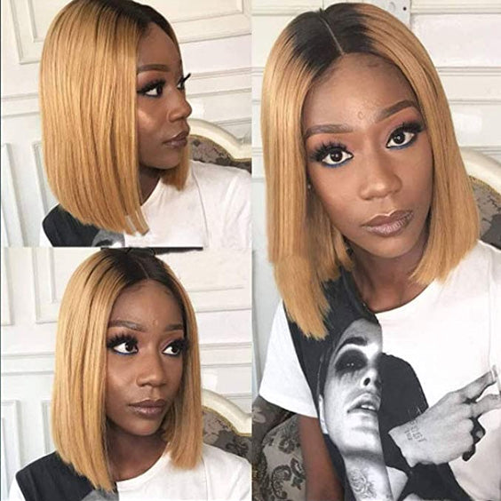 Arabella Human Hair Bob Wigs 4*4 Inch Lace Front Wig Ombre t1b/27 With Baby Hair 180% Density