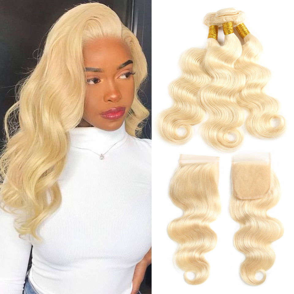 613 Blonde Hair, 3 Bundles Body Wave Hair Weaves  With 4*4 Lace Closure - arabellahair.com