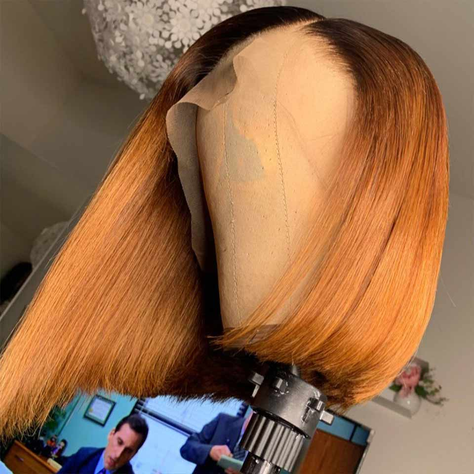 Summer Style Top Grade Breathable Human Hair Bob Wigs 13x4 Inch Lace Front Wig Ombre T1b/30 Crazy Sale