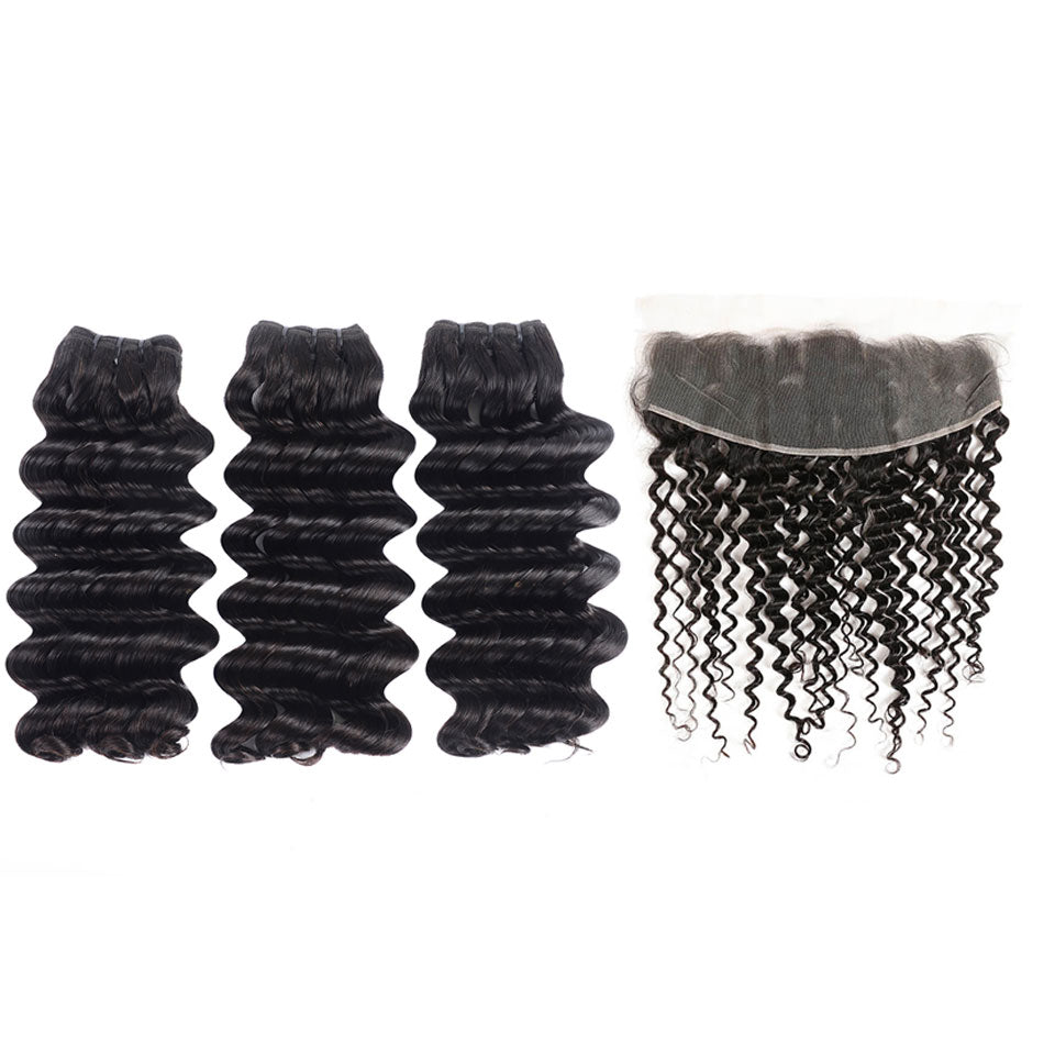 15A Mink Hair Double Drawn Raw Virgin Human Hair Weaves Deep Wave 3 Bundles with  Frontal Closure