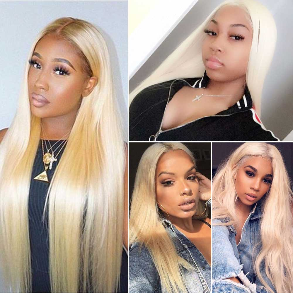 613 Blonde Straight Hair 3Bundles With 13x4 Lace Frontal Closure