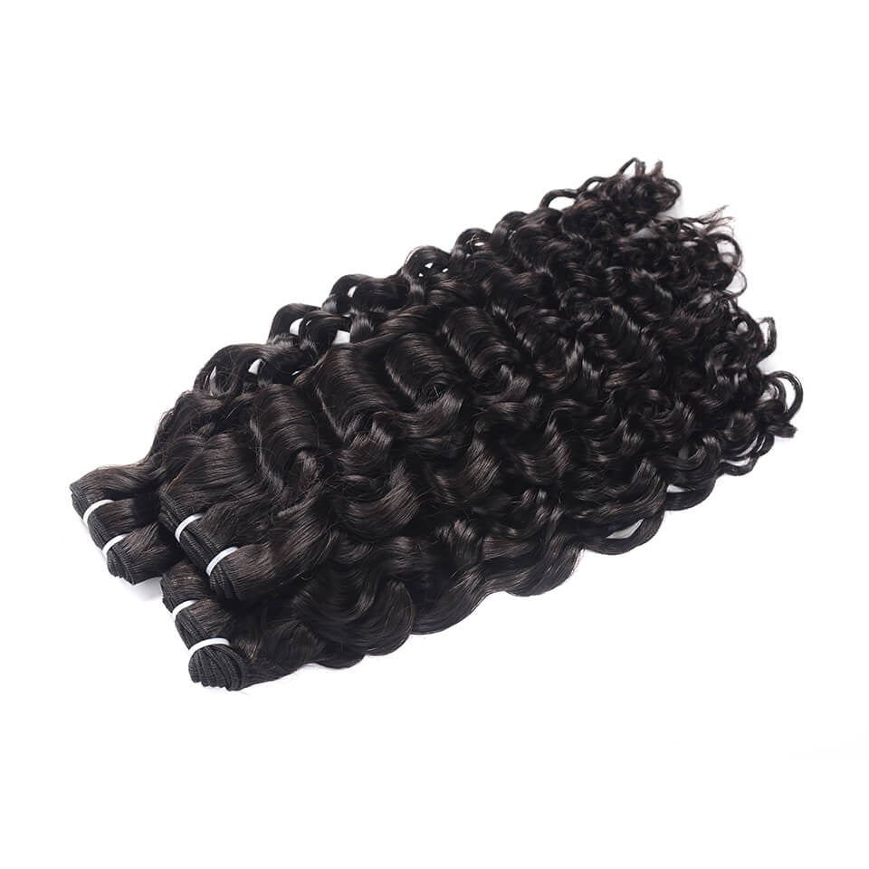 15A Grade Double Drawn Full End  Unprocessed Water Wave Hair Natural Black 3 bundles/pack - arabellahair.com