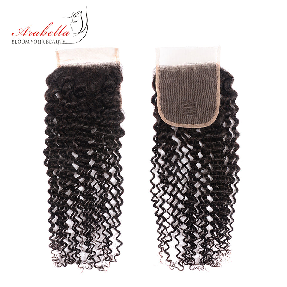 Brazilian Kinky Curly 3 Bundles Hair With 4*4 Lace Closure