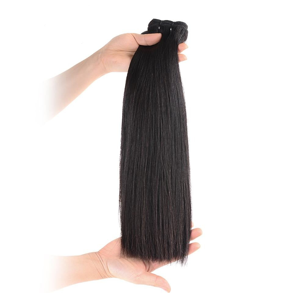 15A Mink Hair Double Drawn Straight Natural Black 1 bundles/pack - arabellahair.com