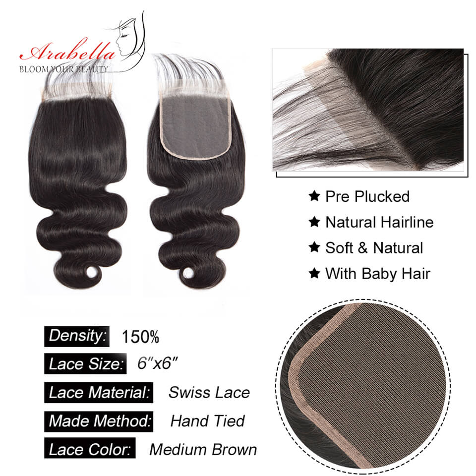 Body Wave Hair Closure Lace Free Part 6x6 Closure 1 Piece