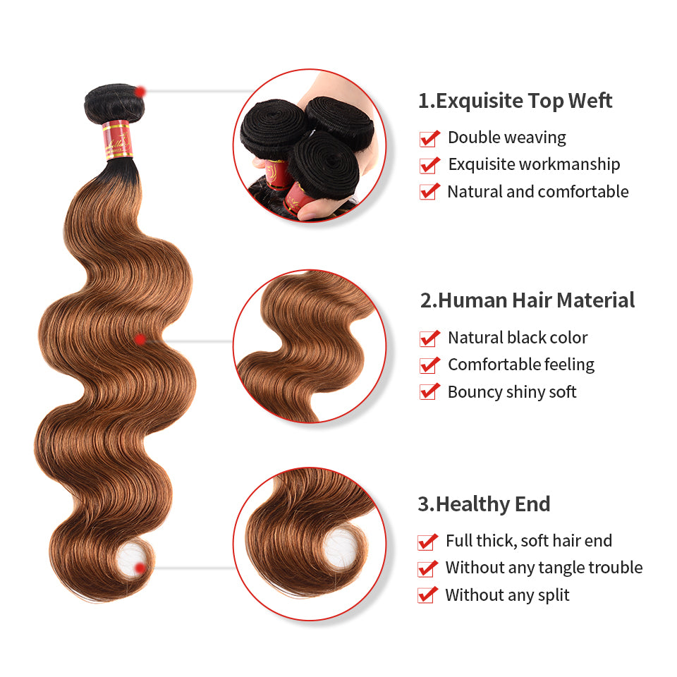 Arabella Hair  Virgin Peruvian Ombre T1b/30 Body Wave 3 Bundles/pack