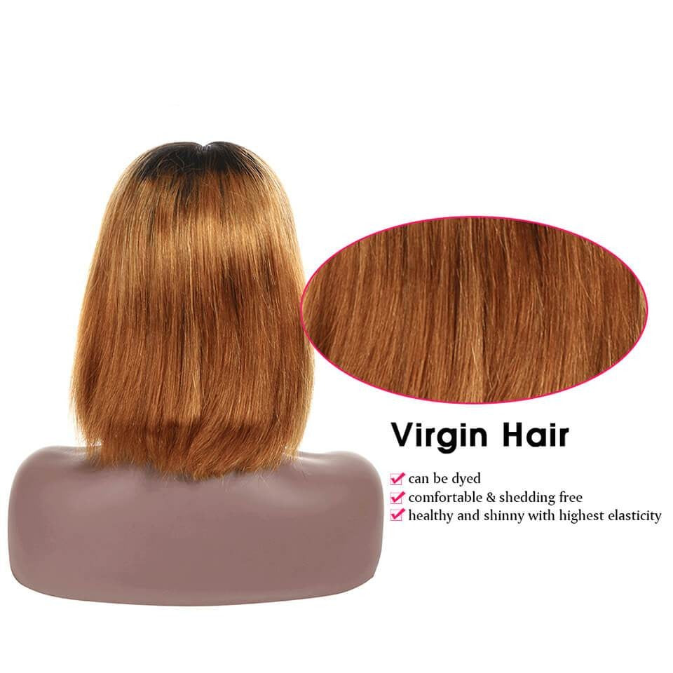 Human Hair Bob Wigs 4*4 Inch Lace Front Wig Ombre T1b/30 With Baby Hair