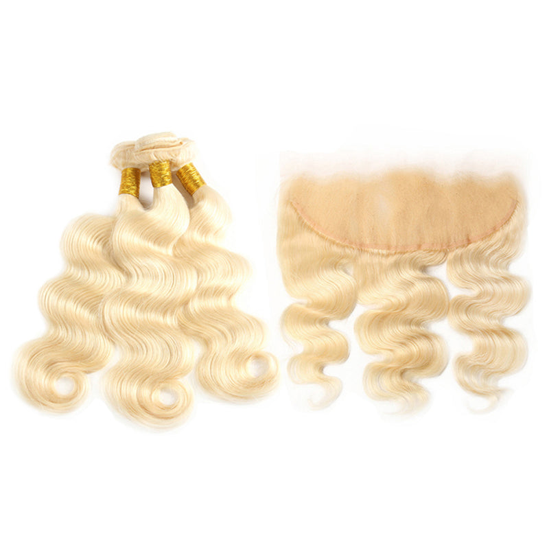 613 Blonde 3 Bundles Body Wave Human Hair Weaves With 13x4 Lace Frontal Closure - arabellahair.com
