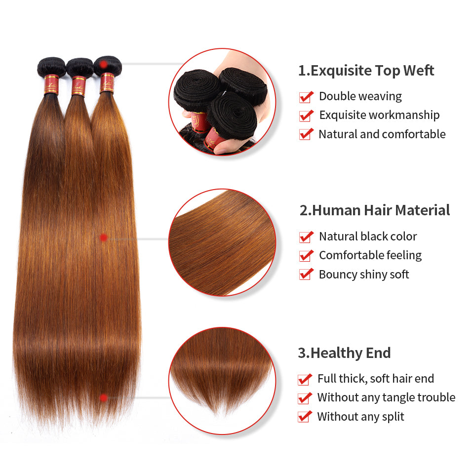 Brazilian Straight T1b/30 Human Hair 4 bundles/lot