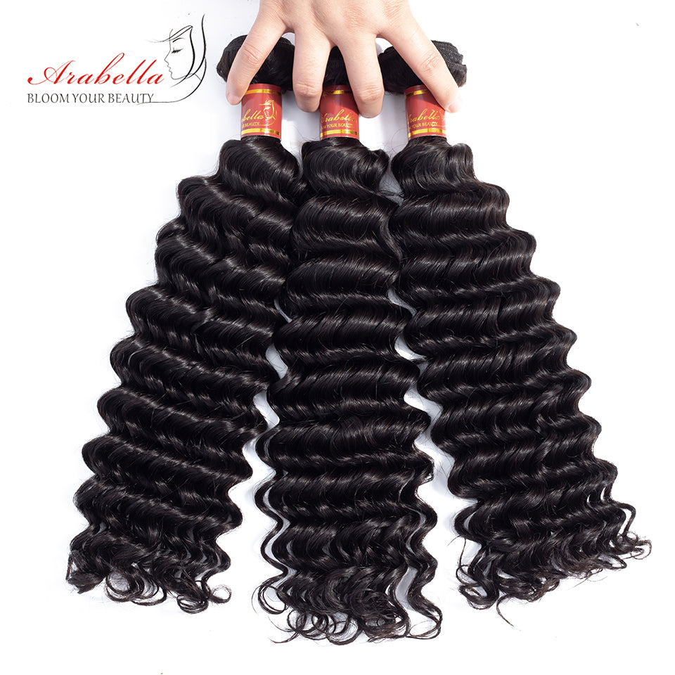 Brazilian Deep Wave 3 Bundles Hair Weft With Frontal Closure