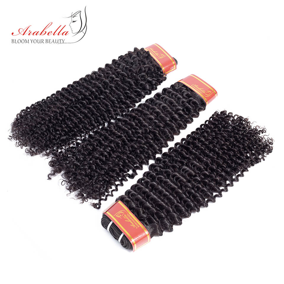 Brazilian Kinky Curly 3 Bundles Hair Weft With Frontal Closure