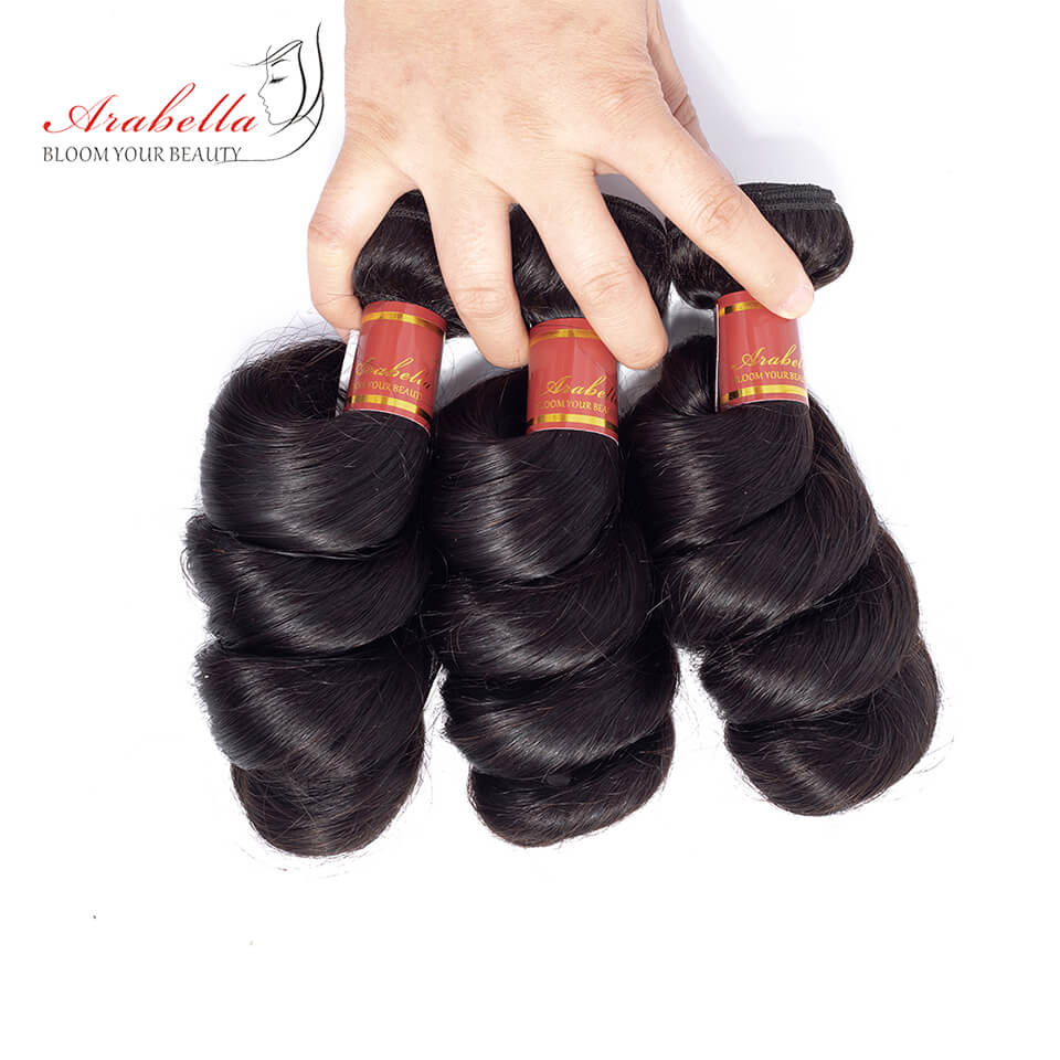 Brazilian Loose Wave 3 Bundles Hair Weft With Frontal Closure