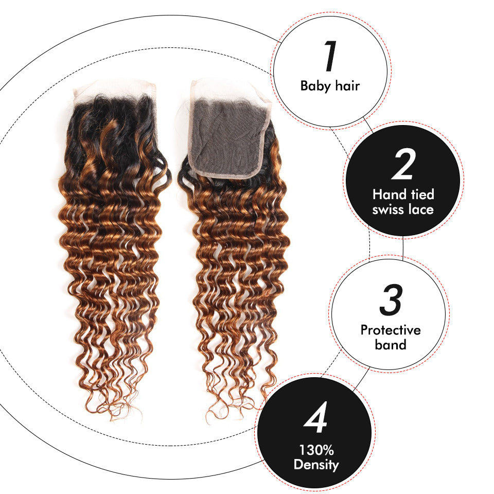 T1B/30 Deep Wave Hair 3Bundles With 4*4 Lace Closure